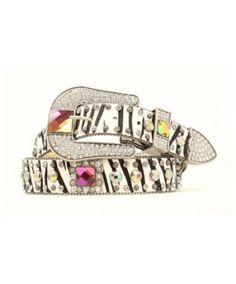 Nocona Zebra Belt with Square Berry Volcano Stones & Crystals