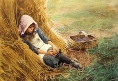 Leaning Against The Haystack ~ Charles Edward Wilson ~ (English Painting For Kids, Art For Kids, Children Painting, Charles Edward, Wilson Art, Different Kinds Of Art, Vintage Artwork, New Poster, Love Art