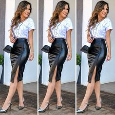 Classy Outfits, Casual Outfits, Cute Outfits, Fashion Outfits, Womens Fashion, Circle Skirt Pattern, Pencil Skirt Work, Leather Pants Outfit, Look Blazer