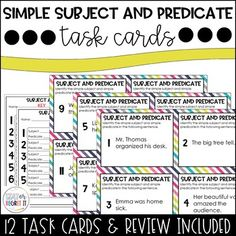 Simple Subject and Predicate Task Cards Middle School Grammar, Writing Promps, Sentence Structure, Group Work, Task Cards, Language Arts, Encouragement, Classroom