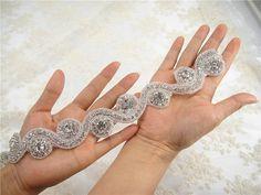 Crystal Beaded Applique, Wedding Crystal Applique, Rhinetones trim for dress, sash,  bridal Sash applique, Wedding Rhinestone Applique