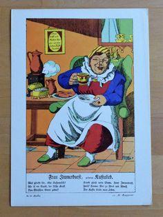 Frau Immerdurst - Karikatur Humor - Druck 70er Jahre Reproduktion Art Print Humor, Baseball Cards, Art Print, Printing, Pictures, Woman, Humour, Funny Photos, Funny Humor