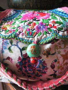 by Debra Dorgan www.allthingspretty.etsy.com Handmade Heavenly Bag, Vintage Embroidery, Beaded, Slouchy, Shoulder, Antique Linen, Floral, Vintage Velvet, Roses, Butterfly, Hummingbird, Pink, Green, Blue, Black, Bohemian, Boho Tote