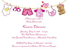 "Baby Girl Clothes Baby Shower Invitation.  6 3/4"" x 4 7/8""."