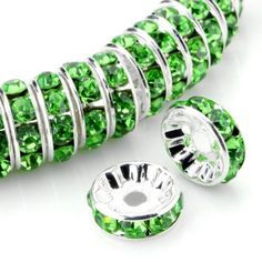 Peridot rhinestones  Select your preferred choice of both crystal quartz and sparkling rhinestones to create your own colour combination bracelet.