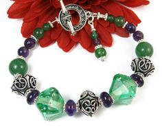Green Lampwork Amethyst #Bracelet, Bali Style Beads and Toggle Clasp, #Handmade #Beaded #Jewelry @prettygonzo