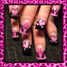 Pink valentine flames - Nail Art Gallery