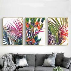 Watercolor Birds of Paradise & Palm Tree Leaves Canvas Print, Wall Art, Poster, Airbnb Home Decor. x 60 cm / x in) Wall Art Prints, Poster Prints, Canvas Prints, Paradise Painting, Watercolor Bird, Watercolor Walls, Tropical Art, Home Decor Paintings, Art Pictures