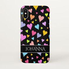 Fun, Loving, Colorful Hearts Pattern + Custom Name iPhone X Case