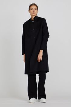 Ahna Cashmere Long Coat in Black Fantasy Life, Cashmere Coat, Big Kids, Normcore, Autumn, Collections, Winter, Sleeves, Black