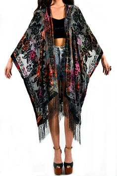 Tie Dye Floral Velvet Burnout Gypsy Fringe by saltwatergypsy