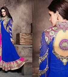 Buy Blue and pink and Golden embroidered Georgette semi stitched salwar with dupatta anarkali-salwar-kameez online