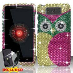 Motorola Droid Ultra XT1080 / Maxx (Verizon) 2 Piece Snap On Rhinestone/Diamond/Bling Case Cover, Pink/Green/Gold Cute Cartoon Owl Design  http://www.amazon.com/dp/B00GLEE19K/ref=cm_sw_r_pi_dp_uL31sb0V7VEA77QM
