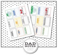 Free Dad Notes from kiki and company. Perfect for Father's Day...there are even ones for grandpa!
