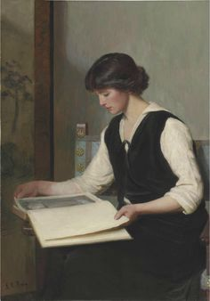 ✉ Biblio Beauties ✉ paintings of women reading letters  books - Frederic Lord Leighton - Lilla Cabot Perry
