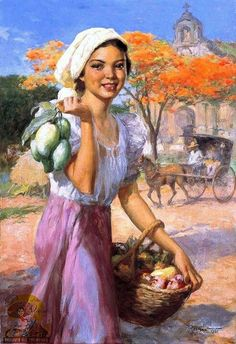Gitls with Mangoes - F. Amorsolo 1951 (oil on canvas laid board. 88 by 34 by 24 inches) Filipino Art, Filipino Culture, Philippine Art, Philippines Culture, Traditional Paintings, Woman Painting, Portraits, Beautiful Paintings, Artist Art