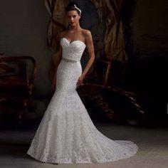 Vestido Noiva Casamento Sereia De Renda Bordado Com Cinto
