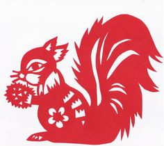 Chinese Cut-Paper Squirrel by scarletkitsune on DeviantArt Kirigami, Paper Lace, Cut Paper, Squirrel Appreciation Day, Chinese Paper Cutting, Paper Cutting Patterns, New Year Art, Rena, Silhouette Curio