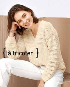 Smile Pictures, Coton Biologique, Drops Design, Pulls, Hand Knitting, White Jeans, Bell Sleeve Top, Pullover, Sacks
