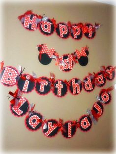 Minnie Mouse Birthday Banner  Classic Minnie by PurpleZebraPaperCo, $33.00