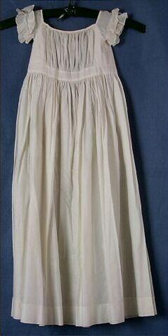 Dress, baby's, white cotton, short, ruffled sleeves, 1875