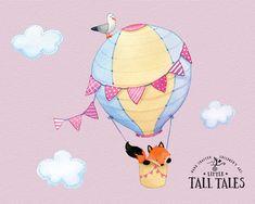 Hot Air Balloon Wall Decal Set  Fox in the от littletalltales