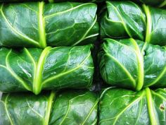 Stuffed Collards- substitute the pork for ground turkey or maybe firm tofu