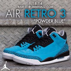 Available 1/18/14-Jordan:  Retro 3– (MN,GS,PS,TD) Dk Pwdr Blue/Wht- #jimmyjazz #trendingnow #Jordan #Retro3 #Kicks #IGSneakerCommunity jimmyjazz.com