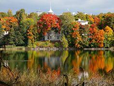 September magic at Töölönlahti! Visit Helsinki, Tourist Information, Finland, Chill, River, Seasons, Mountains, Architecture, Painting