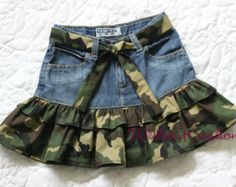 Upcycled denim skirt - - Upcycled denim skirt Sewing Upcycled Denim Skirt with Camouflage Ruffle Sewing Kids Clothes, Diy Clothes, Baby Frocks Designs, Denim Ideas, Denim Crafts, Jeans Rock, Denim And Lace, Recycled Denim, Cute Skirts