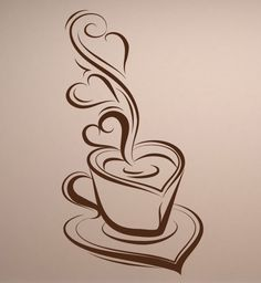 NEW Coffee & Hearts Design Vinyl Wall Decal for by olivejoose, $14.99