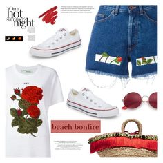 """""""Beach bonfire"""" by jan31 ❤ liked on Polyvore featuring Off-White, Dolce&Gabbana, Converse, Ray-Ban, beach, bonfire and beachbonfire"""