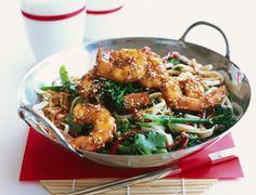 Crevettes sautées au sésame (au wok)