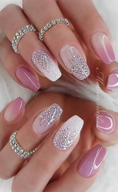 Easy Spring Nails & Spring Nail Art Designs To Try In Simple spring nails colors for acrylic nails, gel nails, shellac spring nails, as well as short spring nails. These easy Spring nail art ideas with flowers, glitter and pastel colors are a must try. Cute Summer Nail Designs, Cute Summer Nails, Cute Nails, Pretty Nails, Nail Summer, Sparkly Nail Designs, Fancy Nails Designs, Summer Design, Pink Acrylic Nails