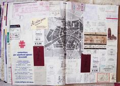 Notes from travelling - receipts - tickets put together as a travelling scrapbook page!