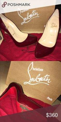 Dark red patent Rolando Christian Louboutin Worn three times. No scuff marks on shoes. Very high heel. Looks great with skinny jeans or dresses! Very beautiful color. Christian Louboutin Shoes Heels