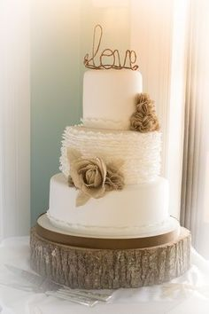 Burlap Flowers & Ruffles Wedding Cake