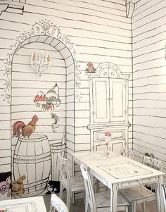 Ester: Kluska Polska - Cartoon Land of Klusek Mural Art, Wall Murals, Wall Art, Cafe Design, Store Design, Store Concept, Wall Drawing, Interior Decorating, Interior Design