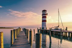 Lake Neusiedl is one of the few steppe lakes in Europe. Its Austrian share makes it the largest lake in Austria in terms of area. Cn Tower, Austria, Building, Travel, Europe, Lighthouses, Communities Unit, Landscapes, Viajes