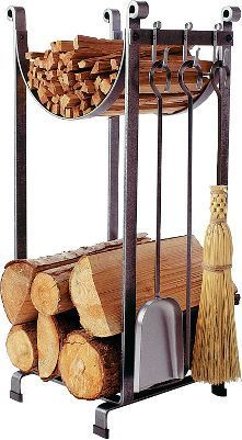 Sling Log Rack with Tools -Enclume Hearth Sling Log Rack with Tools - Perfect for overflow firewood Hearthside Wood Rack at L. Bean 44 Simple Indoor Firewood Storage Design Ideas On A Budget Indoor Firewood Rack, Firewood Storage, Fireplace Logs, Modern Fireplace, Fireplaces, Bohemian Living Rooms, Into The Woods, Blacksmithing, Hearth