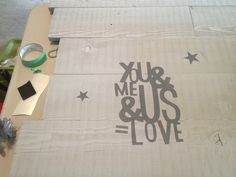 I put together the last of my reclaimed wood, grey-washed it and added a stencil.