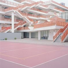 """""""Courts"""", a minimalist photo series by Ward Roberts of pastel-colored sports fields in seemingly deserted, urban environments. Ward Roberts is a New York Magazine Architecture, Interior Architecture, Sketch Architecture, Creative Architecture, Grande Hotel, Pastel Colors, Pastels, Pastel Pink, Pastel Art"""