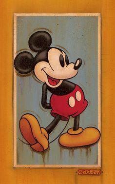 """Vintage Mickey Blue"" by Trevor Carlton | Disney Fine Art | Disney's Mickey Mouse"