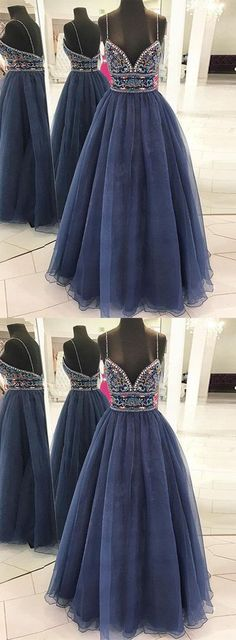Stylish A-Line Spaghetti Straps Navy Blue Tulle Long Prom Dress with Beading B0731