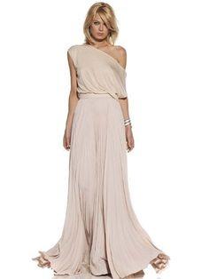 French Romantic Oblique Collar Women's Maxi Dress