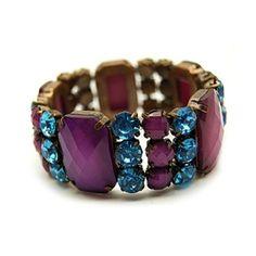 Fantasy Jewelry Box  Parker's Purple & Blue Rhinestone Stretch Bracele