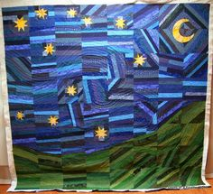 "This ""Starry Night"" quilt by Renee of Quilts of a Feather is a WIP that's going to look pretty grand when it's finished!"