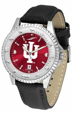 """Indiana Hoosiers NCAA Anochrome """"Competitor"""" Mens Watch (Poly/Leather Band) SunTime. $79.95. Color Coordinated. Calendar Date Function. Rotating Bezel"""