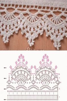 trendy crochet lace edging pattern free ganchillo crochet crochet cord pattern you need to learn Crochet Border Patterns, Crochet Boarders, Crochet Lace Edging, Crochet Diagram, Crochet Chart, Lace Patterns, Thread Crochet, Crochet Trim, Filet Crochet