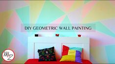DIY Geometric Wall Painting Designs using scotch tape (EASY) | Room make...